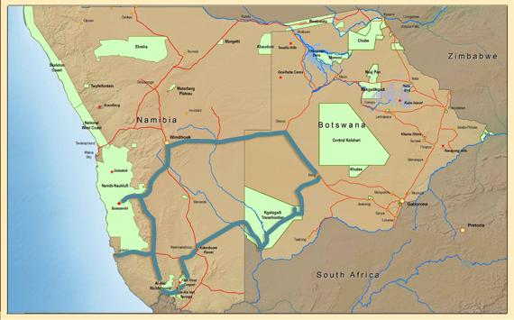 Map Namibie - Botswana zuid